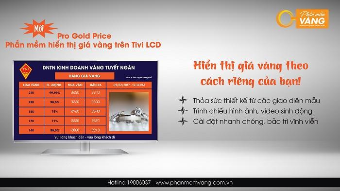 Phần mềm hiển thị giá vàng trên Tivi - Pro Gold Price